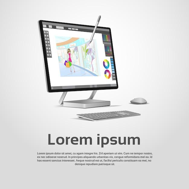 Desktop modern computer graphic designer workplace vector illustration Premium Vector