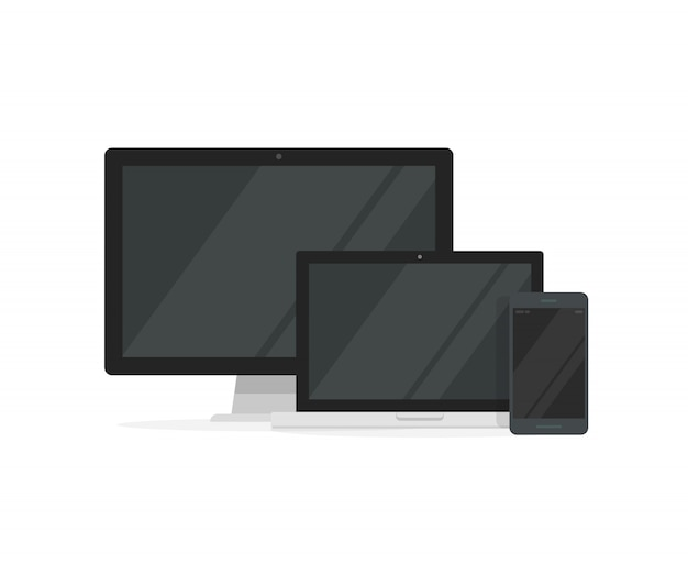 Desktop pc with laptop computer and smartphone for responsive design Premium Vector