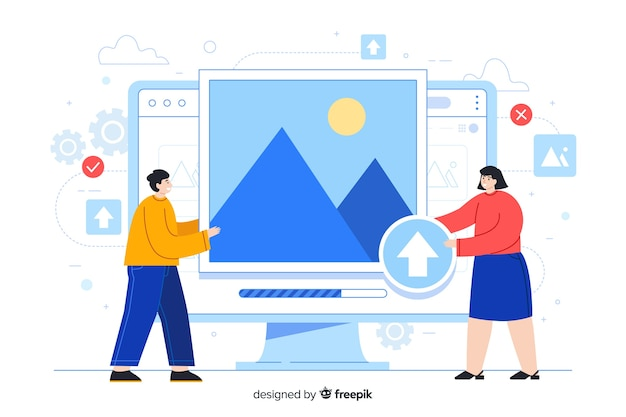 Desktop screen with people uploading images Free Vector