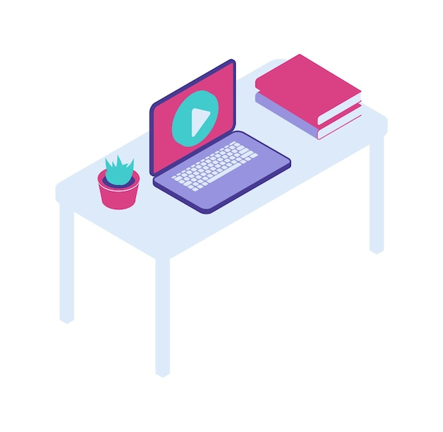 オープンラップトップアイソメトリックベクトルアイコン、ホームオフィス、リモートワークとデスクトップ 無料ベクター