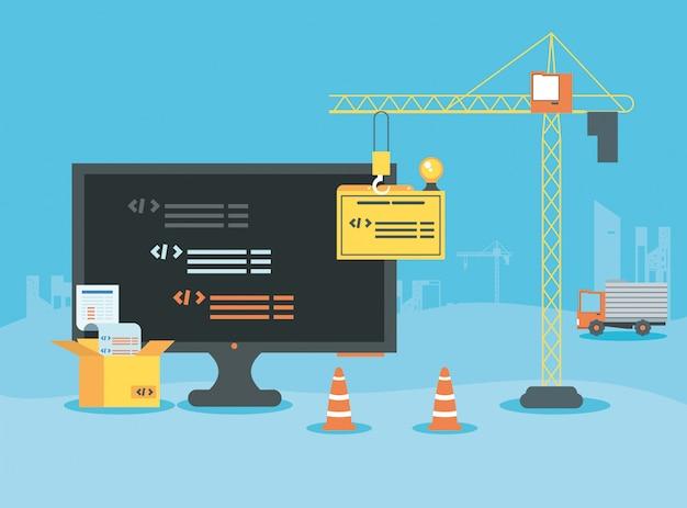 Desktop with webpage under cosntruction Premium Vector