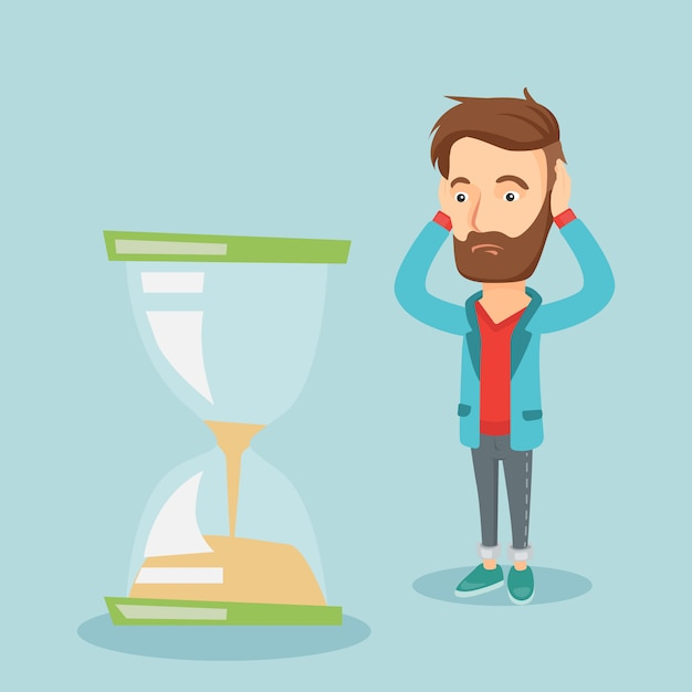 Premium Vector Desperate Business Man Looking At Hourglass Get a 12.980 second desperate business man putting hangmans stock footage at 29.97fps. https www freepik com profile preagreement getstarted 6880265