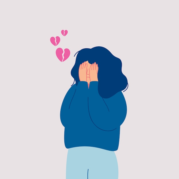 Desperate sad young woman with broken heart cries covering her face with her hands. hand drawn style vector design illustrations. Premium Vector