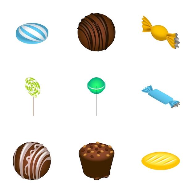 Dessert candy icon set. isometric set of 9 dessert candy icons Premium Vector