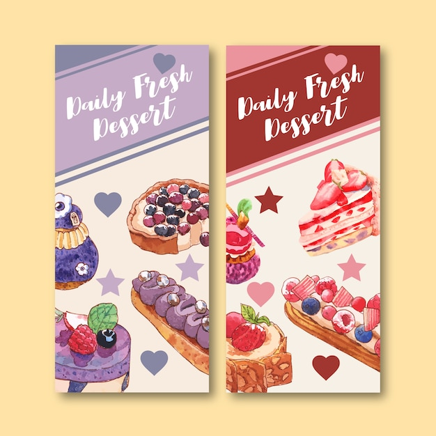 Dessert flyer design with fruit tart, cupcake, strawberry cake watercolor isolated illustration. Free Vector