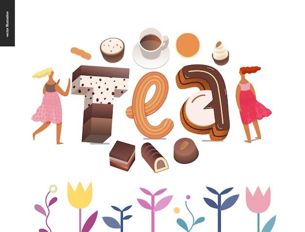 Dessert font lettering tea Premium Vector