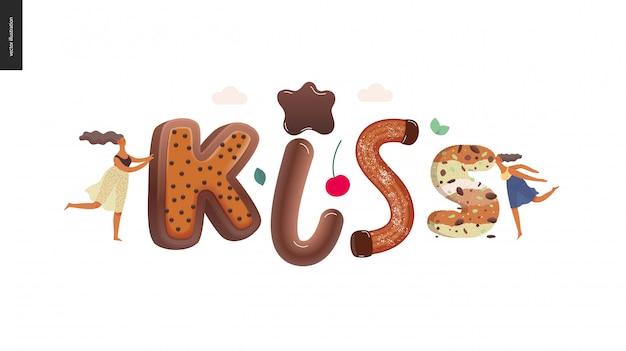 Dessert lettering kiss Premium Vector
