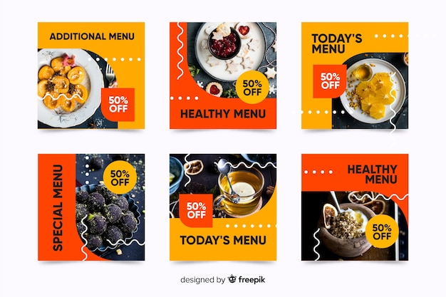 Dessert menu instagram post collection with photo Free Vector