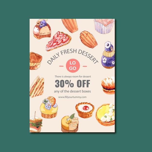 Dessert poster design with cheesecake, sandwich, madeleine, lemon tart watercolor illustration. Free Vector