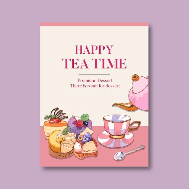 Dessert poster design with teapot, tea, tart, fruit, mousses watercolor illustration. Free Vector