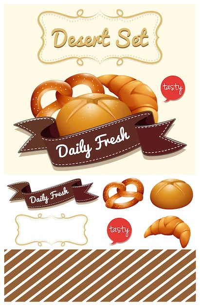 Dessert Set With Bread And Bun Ilration Free Vector