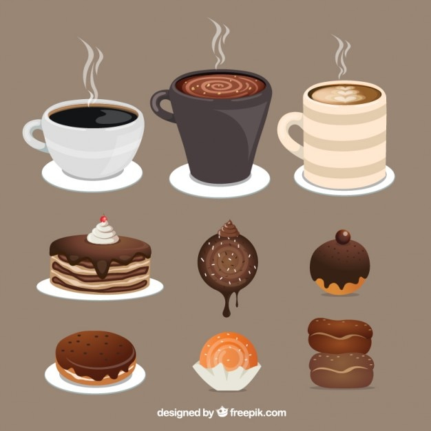 Dessert time collection flat designs Free Vector