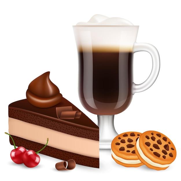 白い背景で隔離のコーヒーとデザート。現実的なチョコレートケーキ、ビスケット、チェリー、ラテのイラスト Premiumベクター