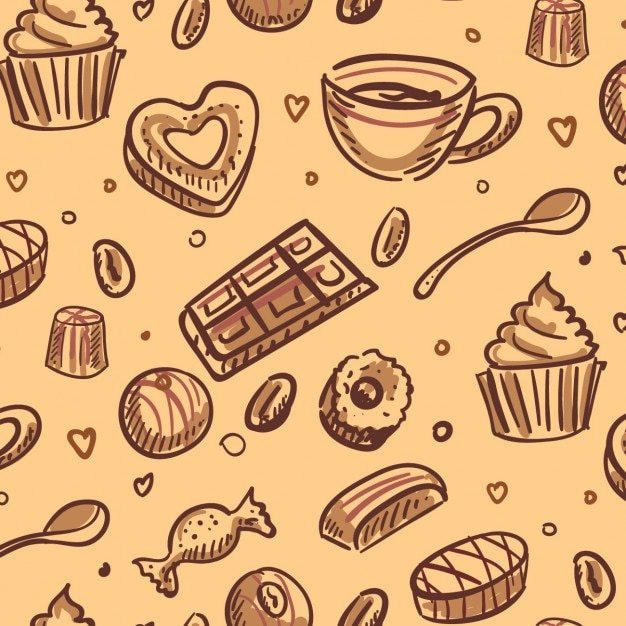 Desserts background Free Vector