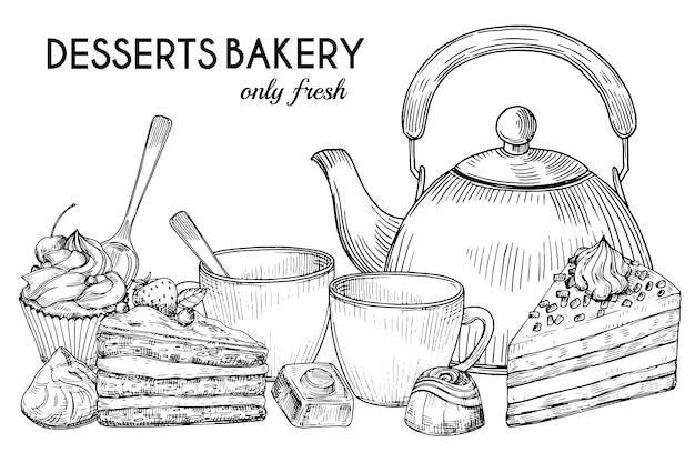 Desserts bakery shop  banner template. hand drawn pot, tea cups, cakes and candies  on white background Premium Vector