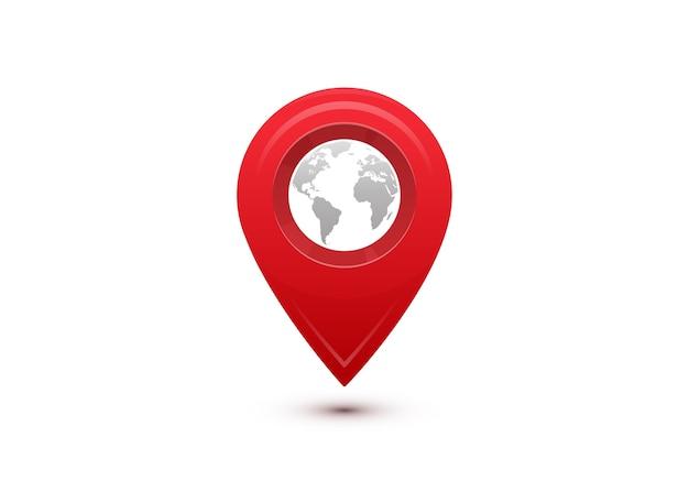 Concetto di destinazione. viaggio di viaggio internazionale. puntatore rosso con mappa del mondo grigio all'interno. Vettore gratuito