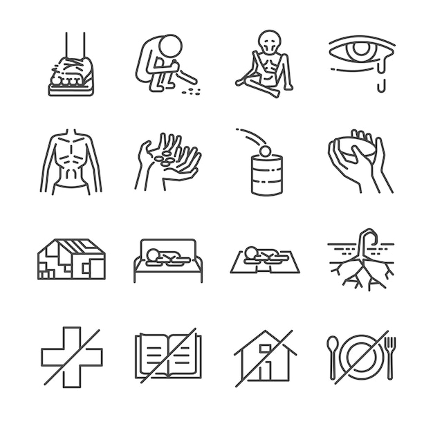 Destitution line icon set. Premium Vector