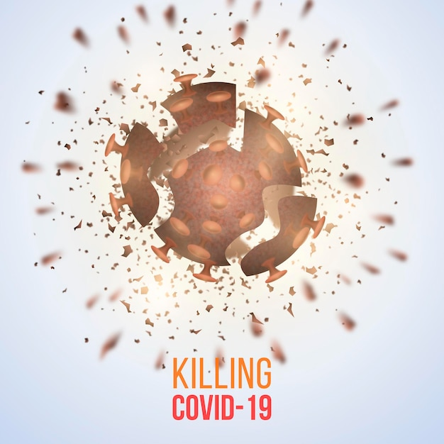 Destroying coronavirus background theme Free Vector