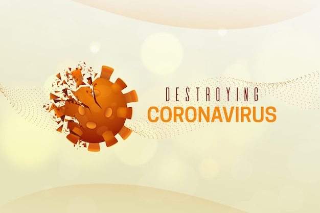 コロナウイルスの背景を破壊する Premiumベクター