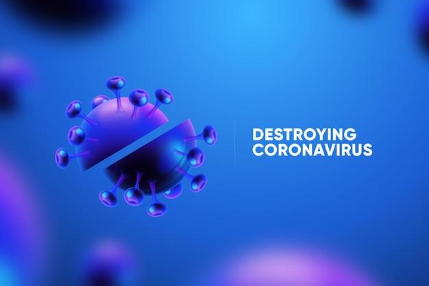 Distruggere lo sfondo del coronavirus Vettore gratuito