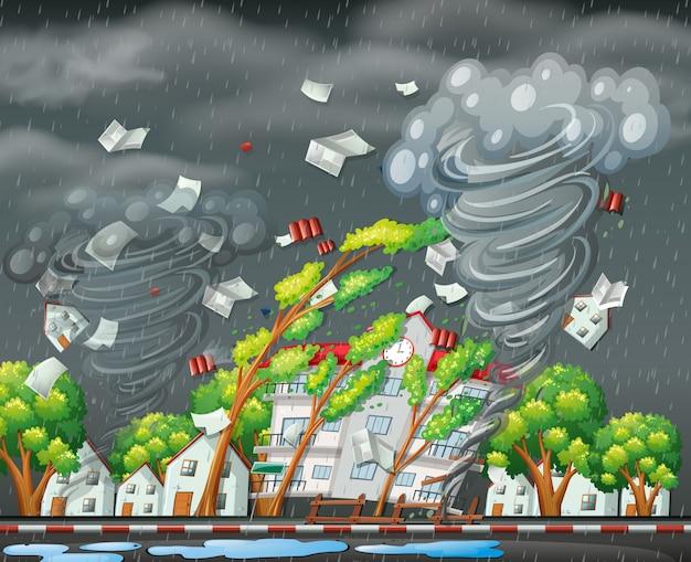 Destructive tornado city scene Premium Vector
