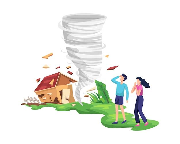 Разрушительная иллюстрация торнадо. закручивая смерч разрушая дом, народ испугался и спасся. ураган в сельской местности ломает деревья и строит. в плоском стиле Premium векторы