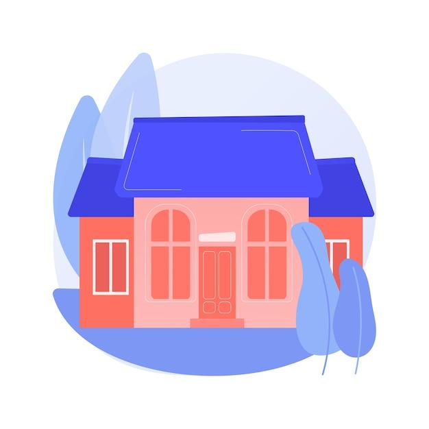 一戸建ての抽象的な概念のベクトル図です。一戸建て、一戸建て、一戸建て、個人の土地所有、戸建住宅ユニットの抽象的な比喩。 無料ベクター