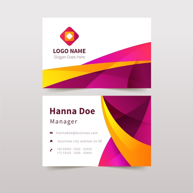 Detailed abstract business card design template Free Vector