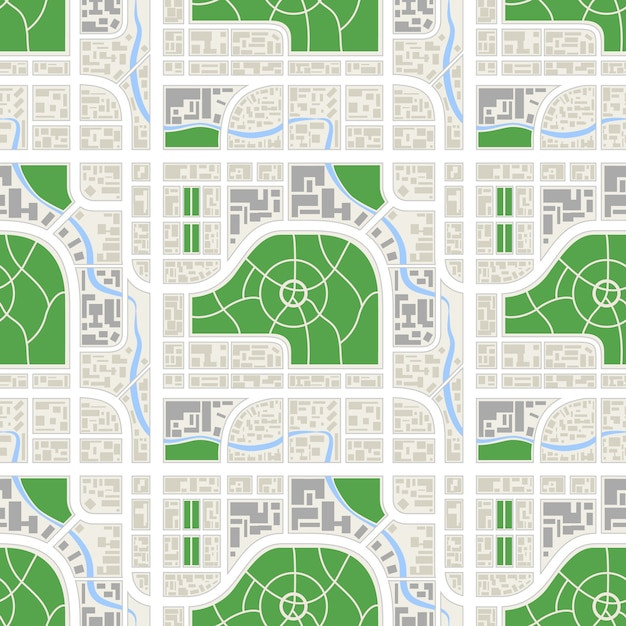 Detailed abstract map of the city with river and parks, seamless pattern Premium Vector