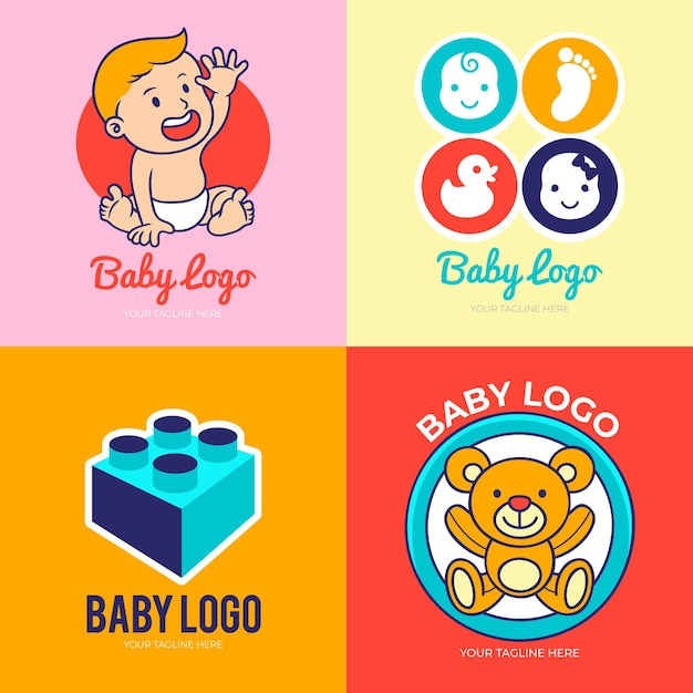 詳細な赤ちゃんのロゴコレクション 無料ベクター