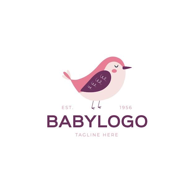 鳥と詳細な赤ちゃんのロゴのテンプレート Premiumベクター
