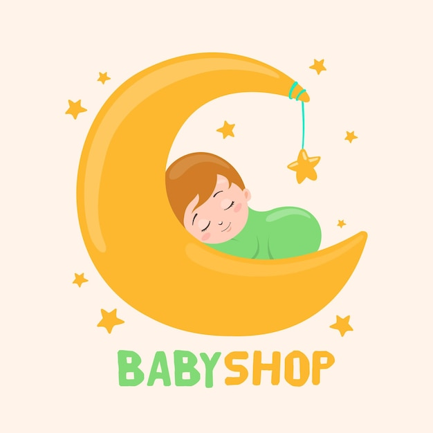 Detailed Baby Logo Template With Moon