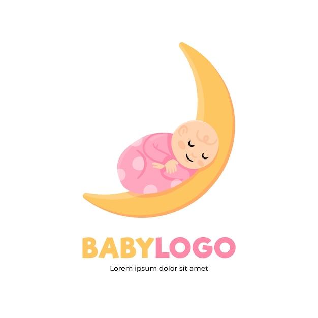 Детальный шаблон детского логотипа Premium векторы