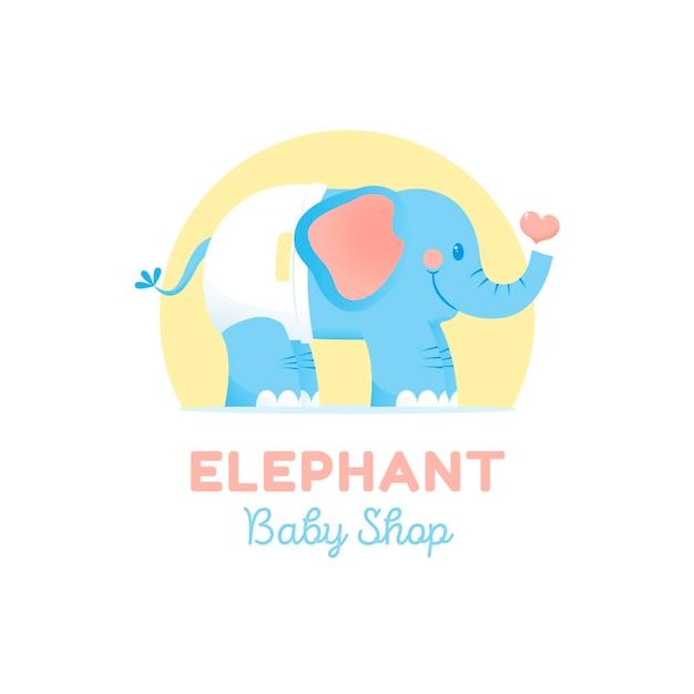 Detailed baby logo with elephant Premium Vector