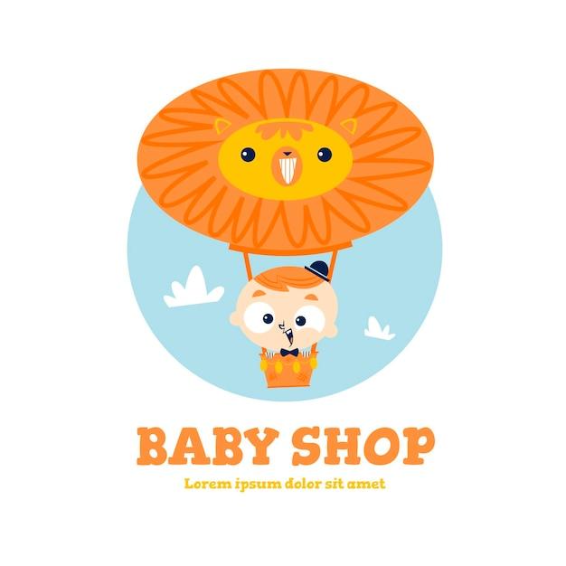 ライオンの熱気球と詳細な赤ちゃんのロゴ 無料ベクター