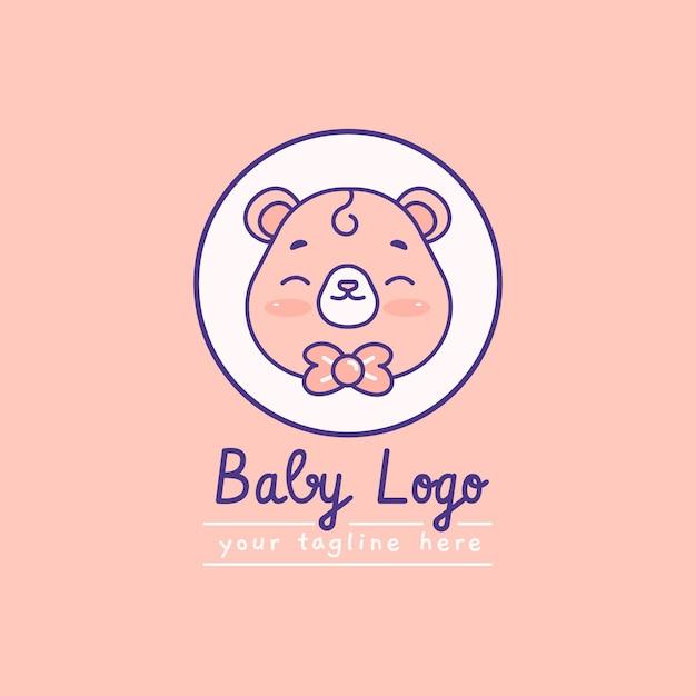 Детальный детский логотип со слоганом Бесплатные векторы