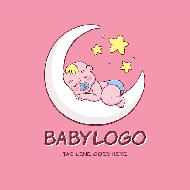 詳細な赤ちゃんのロゴ Premiumベクター