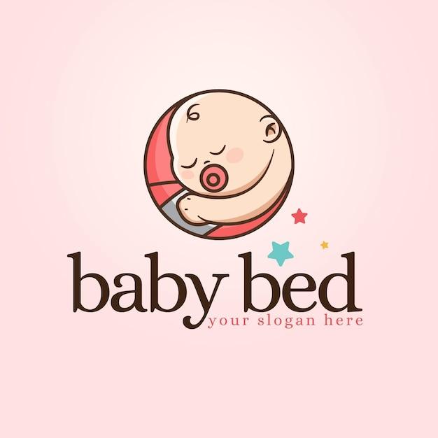 詳細な赤ちゃんのロゴ 無料ベクター