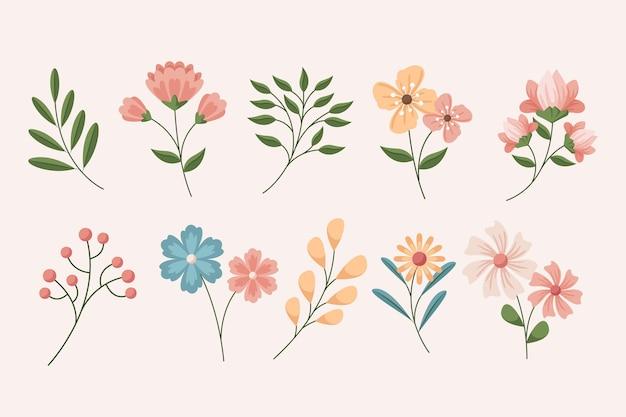 자세한 아름다운 봄 꽃 세트 무료 벡터