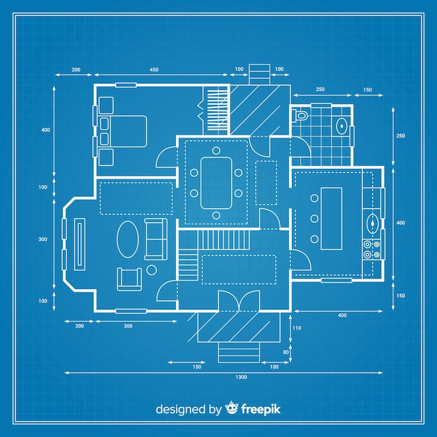 Detailed blueprint of a project for a house Free Vector
