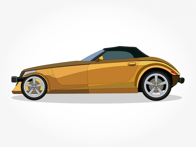 Detailed Body And Rims Of A Flat Colored Car Cartoon Vector