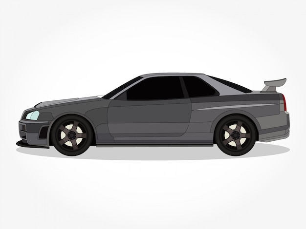 Detailed body and rims of a flat colored car cartoon vector illustration with black stroke and shadow effect Premium Vector