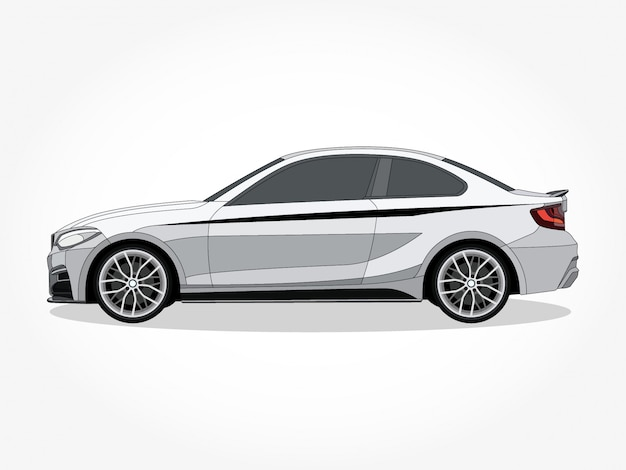 Detailed body and rims of a flat colored car cartoon Premium Vector
