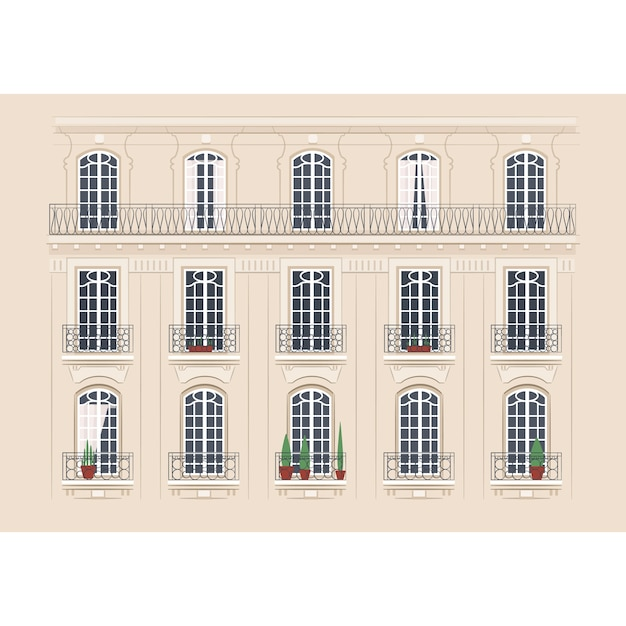 Detailed building facade Premium Vector
