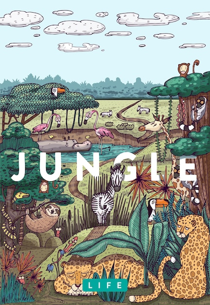 詳細なカラフルなベクトルイラスト。さまざまな動物、鳥、植物が生息するジャングルの野生生物 Premiumベクター