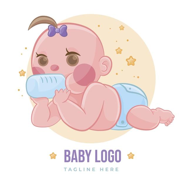 詳細なかわいい赤ちゃんのロゴのテンプレート 無料ベクター