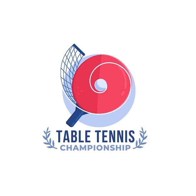 Detailed design table tennis logo Free Vector