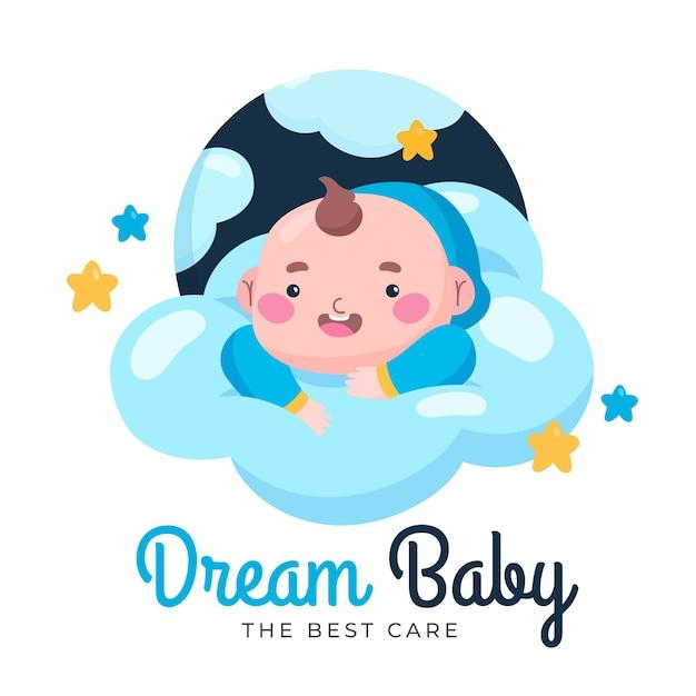 Logo dettagliato del negozio di cura del bambino dei sogni Vettore gratuito