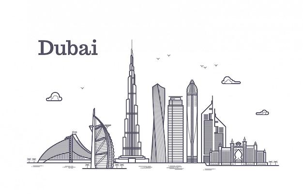 Detailed dubai line vector cityscape with skyscrapers Premium Vector
