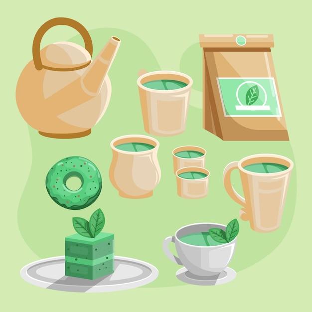 Detailed flat japanese tea set Free Vector